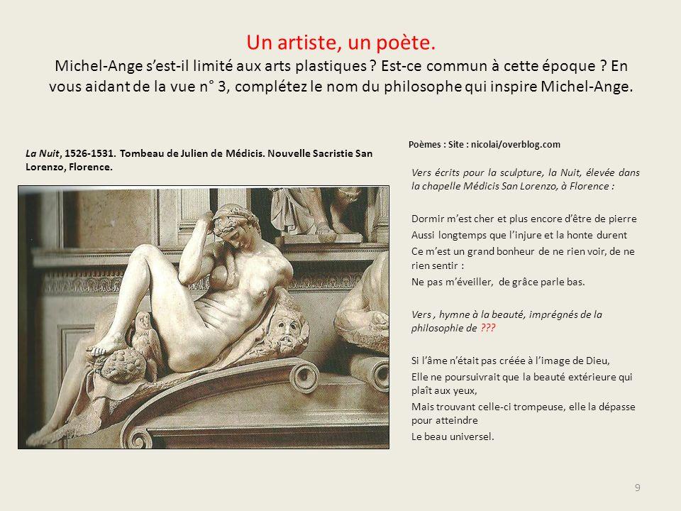 Un artiste, un poète. Michel-Ange sest-il limité aux arts plastiques ? Est-ce commun à cette époque ? En vous aidant de la vue n° 3, complétez le nom