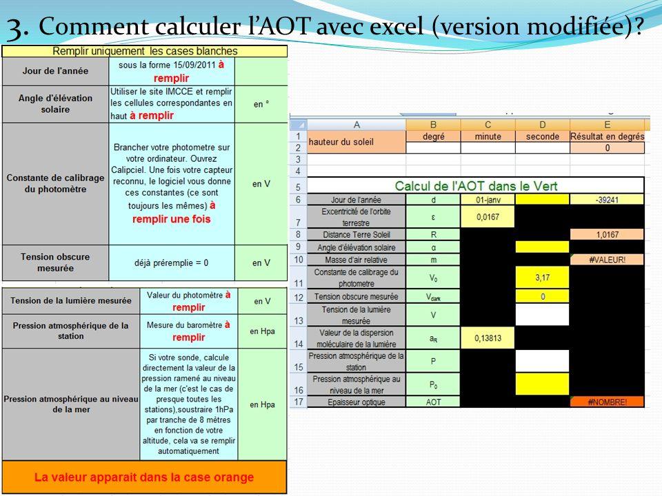3. Comment calculer lAOT avec excel (version modifiée)