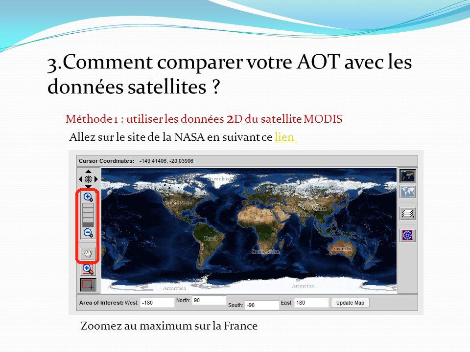 3.Comment comparer votre AOT avec les données satellites .