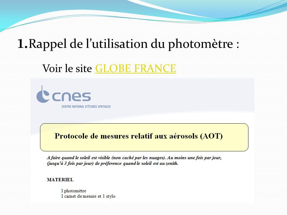 1. Rappel de lutilisation du photomètre : Voir le site GLOBE FRANCEGLOBE FRANCE