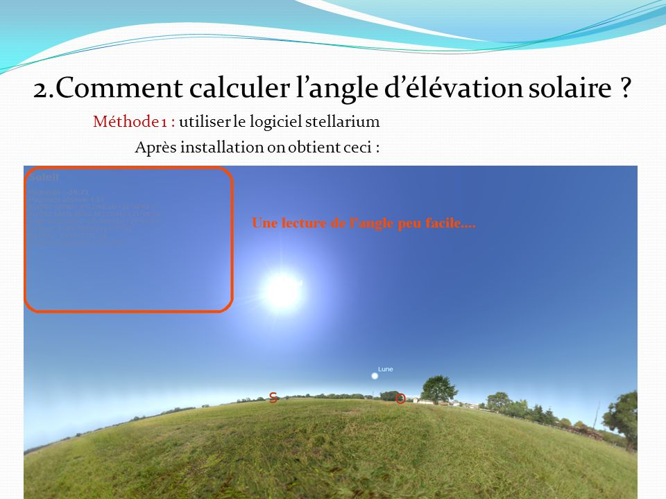 2.Comment calculer langle délévation solaire .