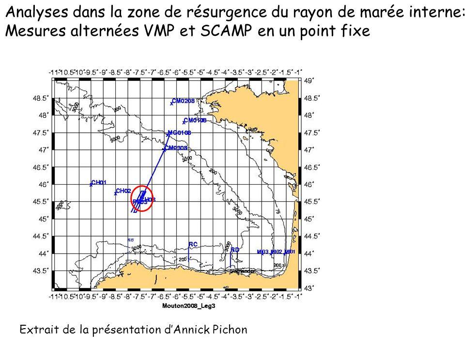 Analyses dans la zone de résurgence du rayon de marée interne: Mesures alternées VMP et SCAMP en un point fixe Extrait de la présentation dAnnick Pichon