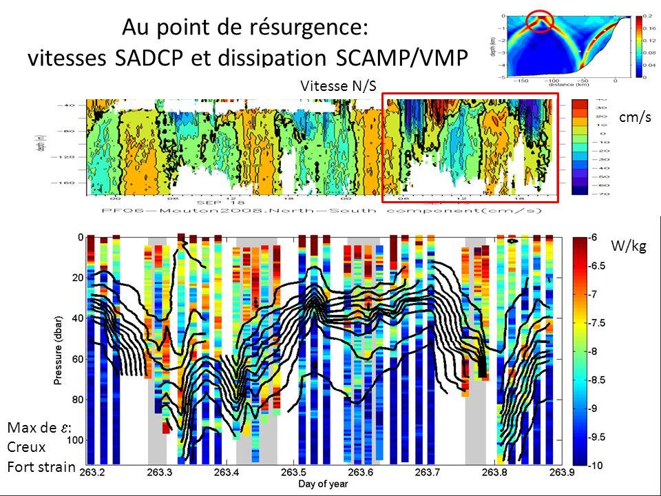 Au point de résurgence: vitesses SADCP et dissipation SCAMP/VMP Vitesse N/S Log10(dissipation(W/kg)) et isothermesW/kg cm/s Max de : Creux Fort strain