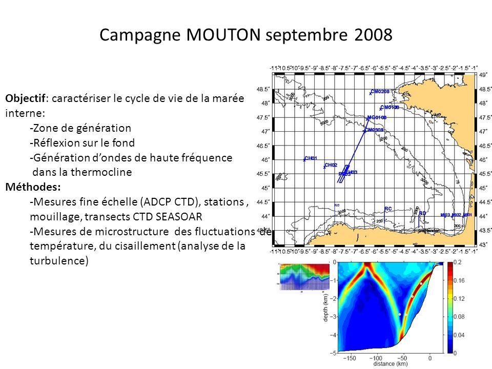 Comparaisons des mesures SCAMP et VMP En fonction de la profondeur Par gamme de température thermocline Dissipation relativement forte dans la thermocline ~4.10 -8 W/kg Relativement bon accord entre Mesures SCAMP et VMP (non simultanées)