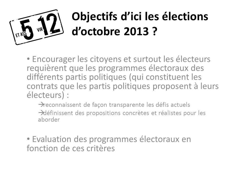 Objectifs dici les élections doctobre 2013 .