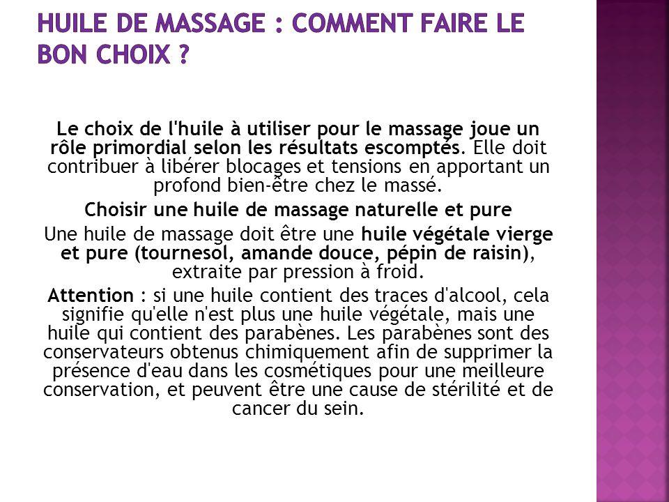 Le choix de l'huile à utiliser pour le massage joue un rôle primordial selon les résultats escomptés. Elle doit contribuer à libérer blocages et tensi