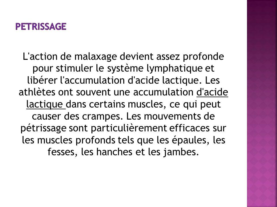 L'action de malaxage devient assez profonde pour stimuler le système lymphatique et libérer l'accumulation d'acide lactique. Les athlètes ont souvent