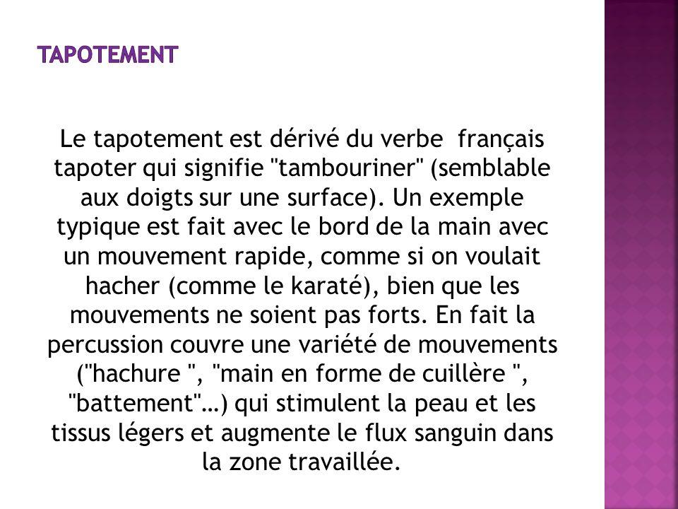 Le tapotement est dérivé du verbe français tapoter qui signifie