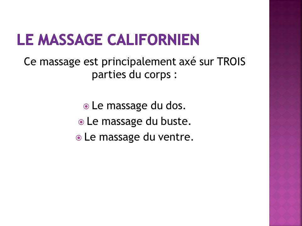 Ce massage est principalement axé sur TROIS parties du corps : Le massage du dos. Le massage du buste. Le massage du ventre.
