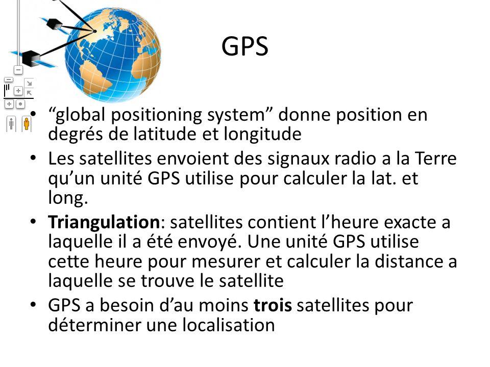 GPS global positioning system donne position en degrés de latitude et longitude Les satellites envoient des signaux radio a la Terre quun unité GPS ut