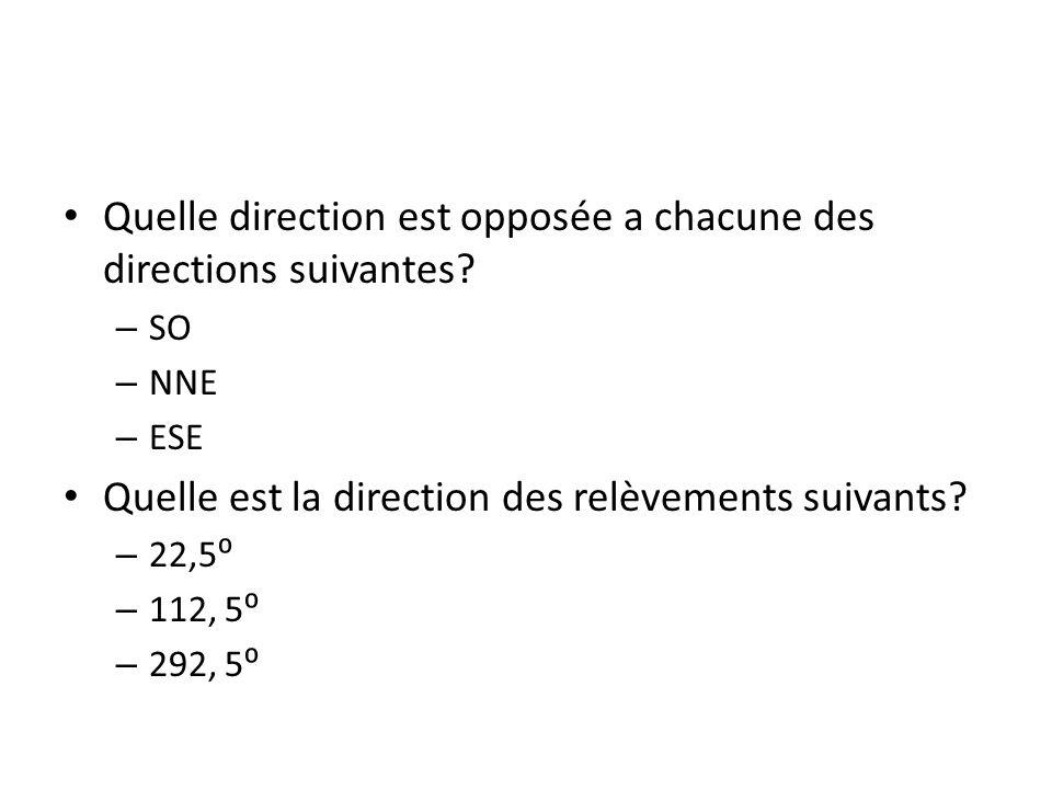 Quelle direction est opposée a chacune des directions suivantes? – SO – NNE – ESE Quelle est la direction des relèvements suivants? – 22,5 – 112, 5 –