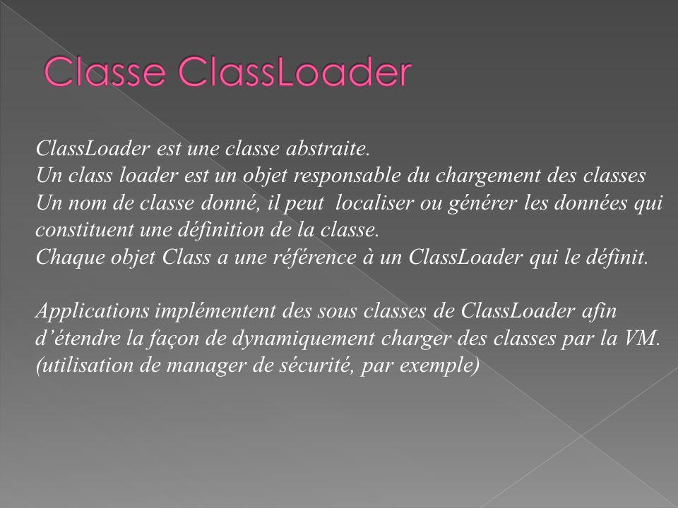 ClassLoader est une classe abstraite. Un class loader est un objet responsable du chargement des classes Un nom de classe donné, il peut localiser ou