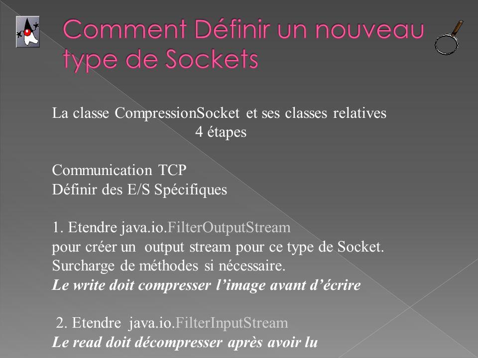 La classe CompressionSocket et ses classes relatives 4 étapes Communication TCP Définir des E/S Spécifiques 1. Etendre java.io.FilterOutputStream pour
