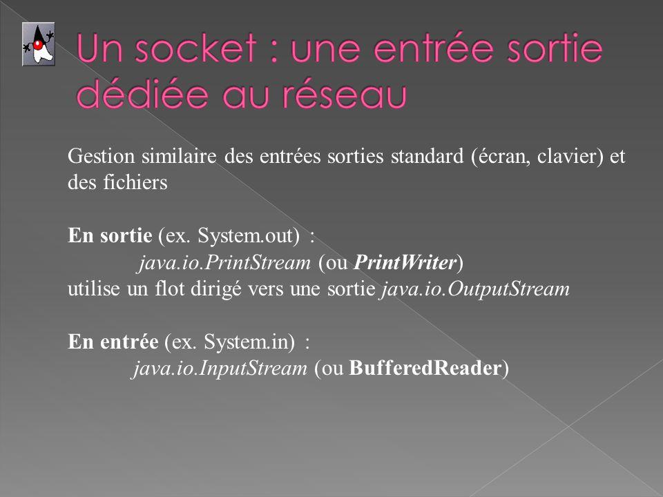 Gestion similaire des entrées sorties standard (écran, clavier) et des fichiers En sortie (ex. System.out) : java.io.PrintStream (ou PrintWriter) util