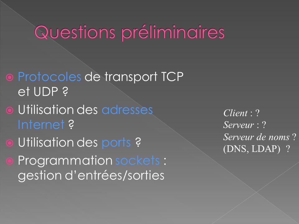 Protocoles de transport TCP et UDP ? Utilisation des adresses Internet ? Utilisation des ports ? Programmation sockets : gestion dentrées/sorties Clie
