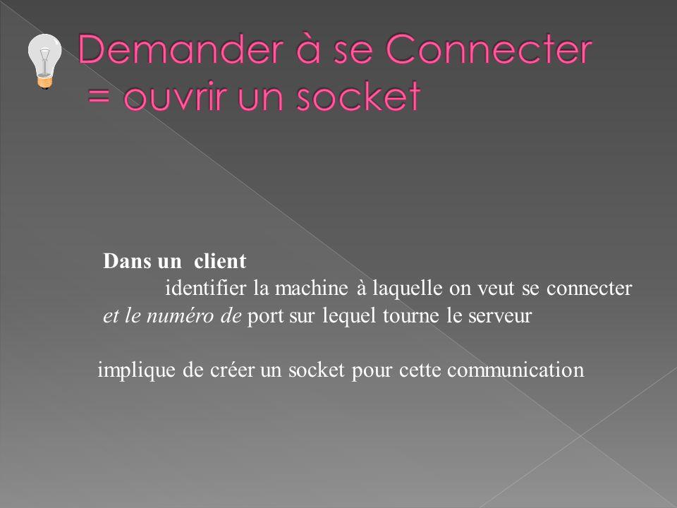 Dans un client identifier la machine à laquelle on veut se connecter et le numéro de port sur lequel tourne le serveur implique de créer un socket pour cette communication