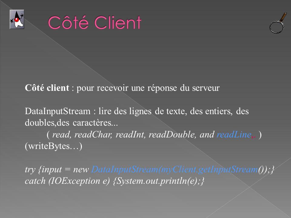 Côté client : pour recevoir une réponse du serveur DataInputStream : lire des lignes de texte, des entiers, des doubles,des caractères... ( read, read