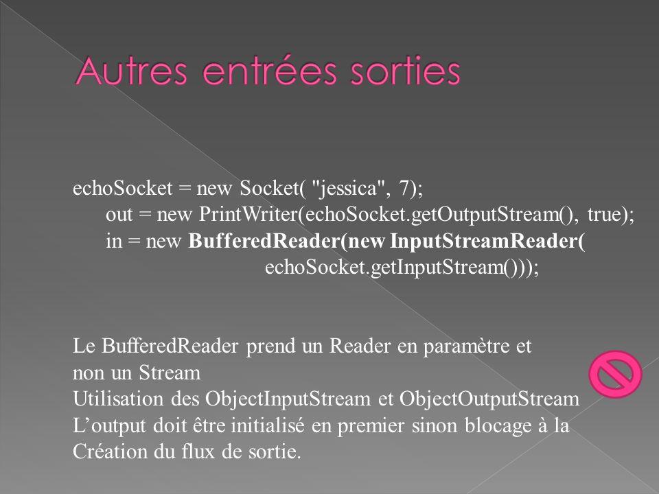 echoSocket = new Socket( jessica , 7); out = new PrintWriter(echoSocket.getOutputStream(), true); in = new BufferedReader(new InputStreamReader( echoSocket.getInputStream())); Le BufferedReader prend un Reader en paramètre et non un Stream Utilisation des ObjectInputStream et ObjectOutputStream Loutput doit être initialisé en premier sinon blocage à la Création du flux de sortie.