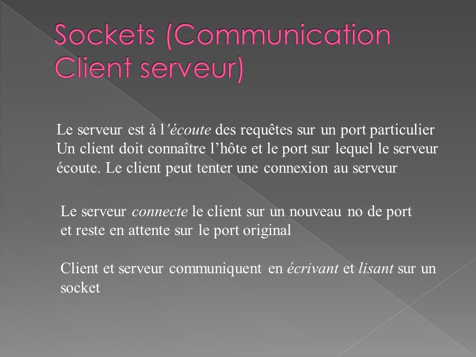 Le serveur connecte le client sur un nouveau no de port et reste en attente sur le port original Client et serveur communiquent en écrivant et lisant