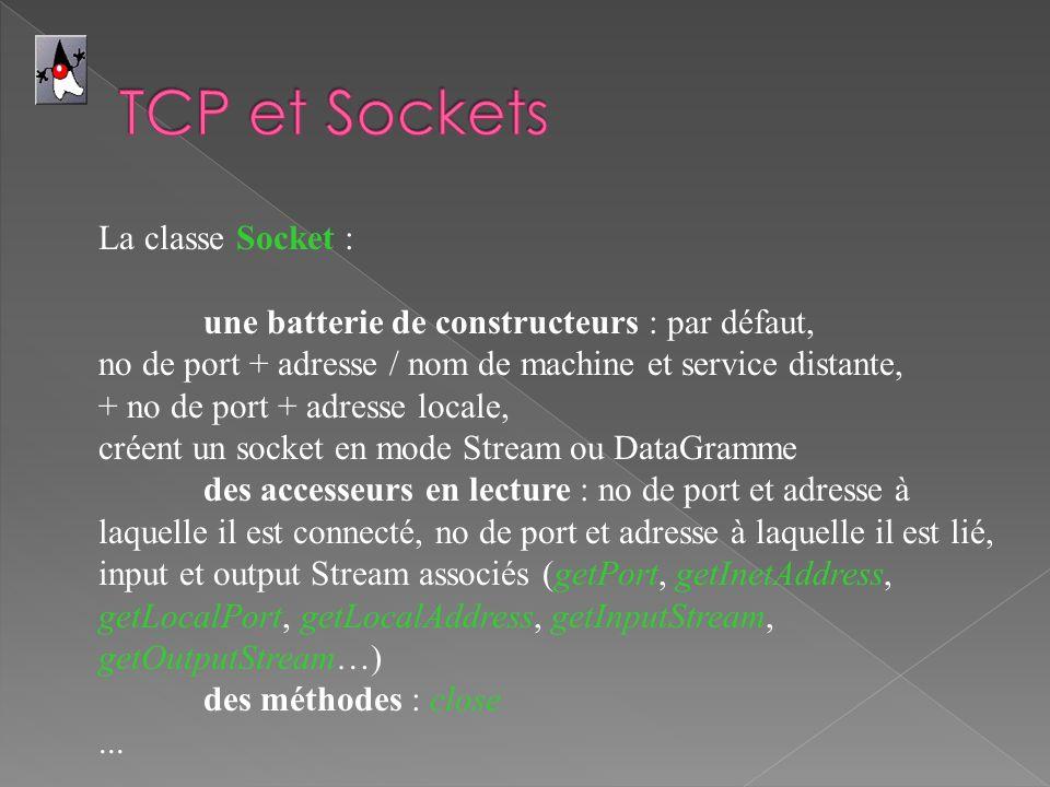 La classe Socket : une batterie de constructeurs : par défaut, no de port + adresse / nom de machine et service distante, + no de port + adresse locale, créent un socket en mode Stream ou DataGramme des accesseurs en lecture : no de port et adresse à laquelle il est connecté, no de port et adresse à laquelle il est lié, input et output Stream associés (getPort, getInetAddress, getLocalPort, getLocalAddress, getInputStream, getOutputStream…) des méthodes : close...