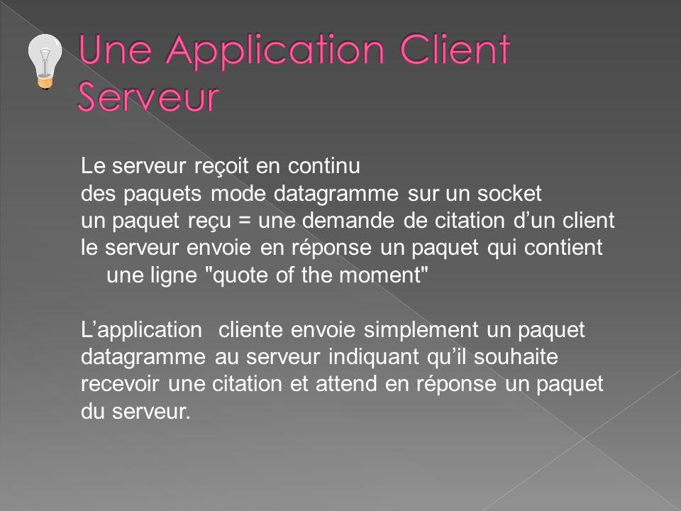 Le serveur reçoit en continu des paquets mode datagramme sur un socket un paquet reçu = une demande de citation dun client le serveur envoie en répons