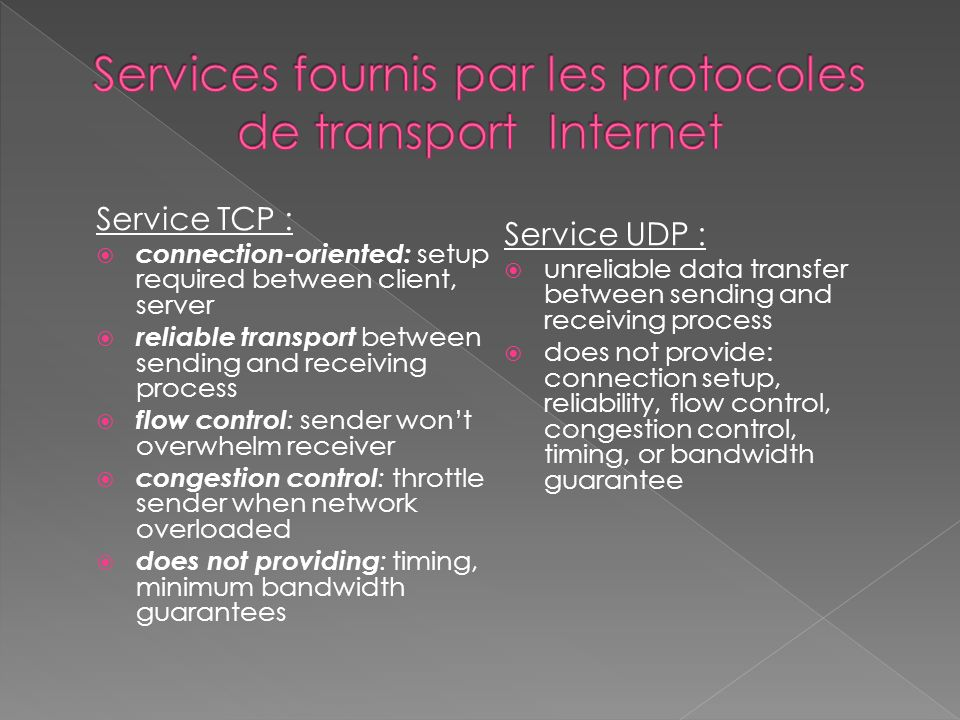 Service TCP : connection-oriented: setup required between client, server reliable transport between sending and receiving process flow control : sender wont overwhelm receiver congestion control : throttle sender when network overloaded does not providing : timing, minimum bandwidth guarantees Service UDP : unreliable data transfer between sending and receiving process does not provide: connection setup, reliability, flow control, congestion control, timing, or bandwidth guarantee