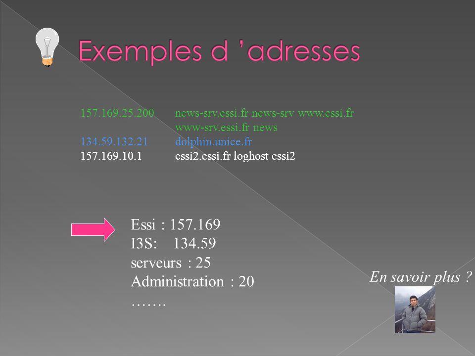 157.169.25.200 news-srv.essi.fr news-srv www.essi.fr www-srv.essi.fr news 134.59.132.21 dolphin.unice.fr 157.169.10.1 essi2.essi.fr loghost essi2 Essi : 157.169 I3S: 134.59 serveurs : 25 Administration : 20 …….