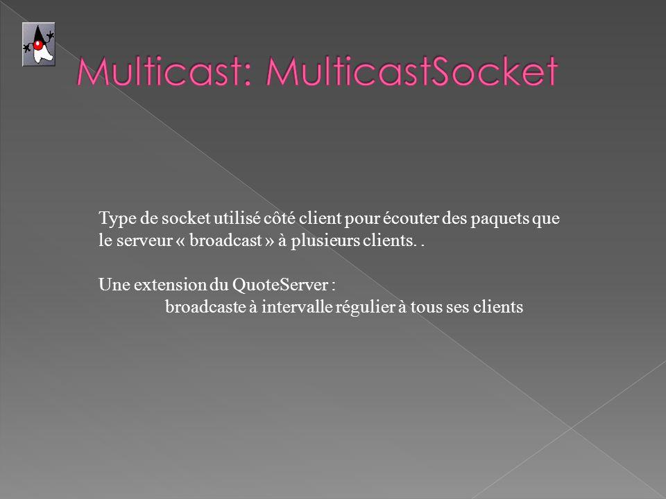 Type de socket utilisé côté client pour écouter des paquets que le serveur « broadcast » à plusieurs clients.. Une extension du QuoteServer : broadcas