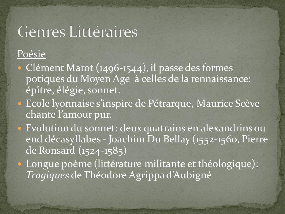 Poésie Clément Marot (1496-1544), il passe des formes potiques du Moyen Age à celles de la rennaissance: épître, élégie, sonnet. Ecole lyonnaise sinsp
