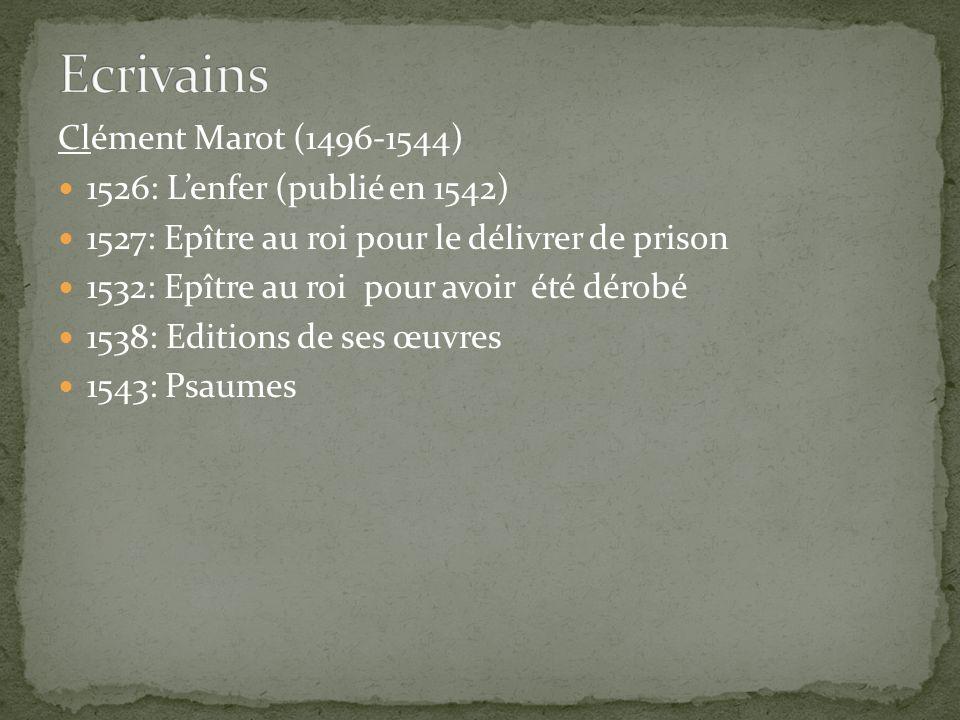 Clément Marot (1496-1544) 1526: Lenfer (publié en 1542) 1527: Epître au roi pour le délivrer de prison 1532: Epître au roi pour avoir été dérobé 1538: