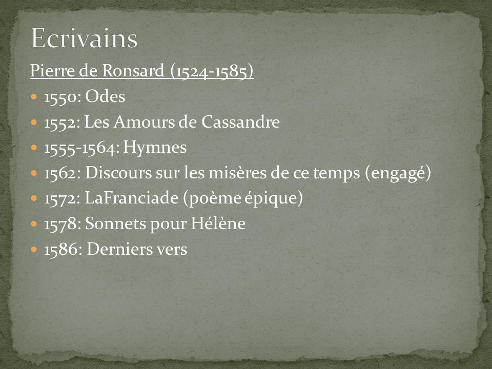 Pierre de Ronsard (1524-1585) 1550: Odes 1552: Les Amours de Cassandre 1555-1564: Hymnes 1562: Discours sur les misères de ce temps (engagé) 1572: LaF