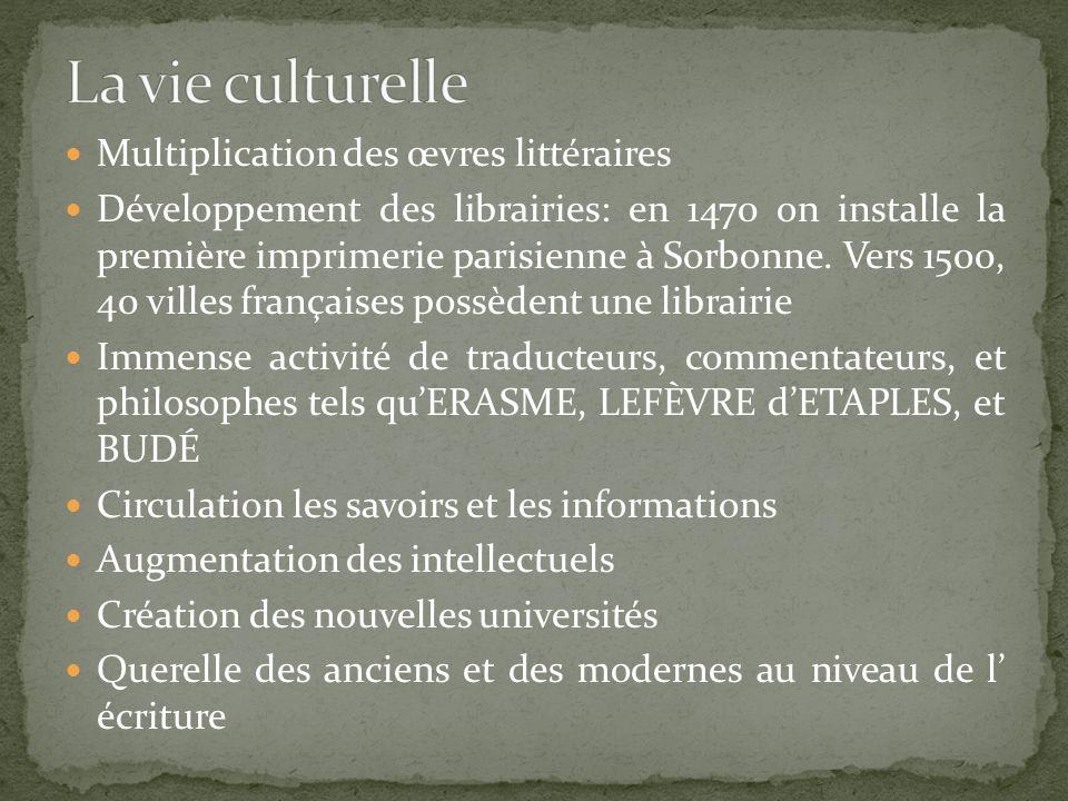 Multiplication des œvres littéraires Développement des librairies: en 1470 on installe la première imprimerie parisienne à Sorbonne. Vers 1500, 40 vil