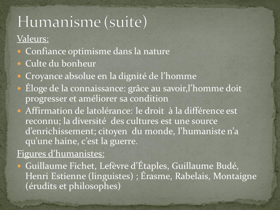 Valeurs: Confiance optimisme dans la nature Culte du bonheur Croyance absolue en la dignité de lhomme Éloge de la connaissance: grâce au savoir,lhomme