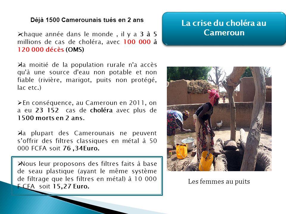 Déjà 1500 Camerounais tués en 2 ans chaque année dans le monde, il y a 3 à 5 millions de cas de choléra, avec 100 000 à 120 000 décès (OMS) la moitié de la population rurale n a accès qu à une source d eau non potable et non fiable (rivière, marigot, puits non protégé, lac etc.) En conséquence, au Cameroun en 2011, on a eu 23 152 cas de choléra avec plus de 1500 morts en 2 ans.