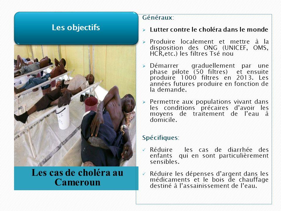 Les cas de choléra au Cameroun Généraux: Lutter contre le choléra dans le monde Produire localement et mettre à la disposition des ONG (UNICEF, OMS, HCR,etc.) les filtres Tsé nou Démarrer graduellement par une phase pilote (50 filtres) et ensuite produire 1000 filtres en 2013.