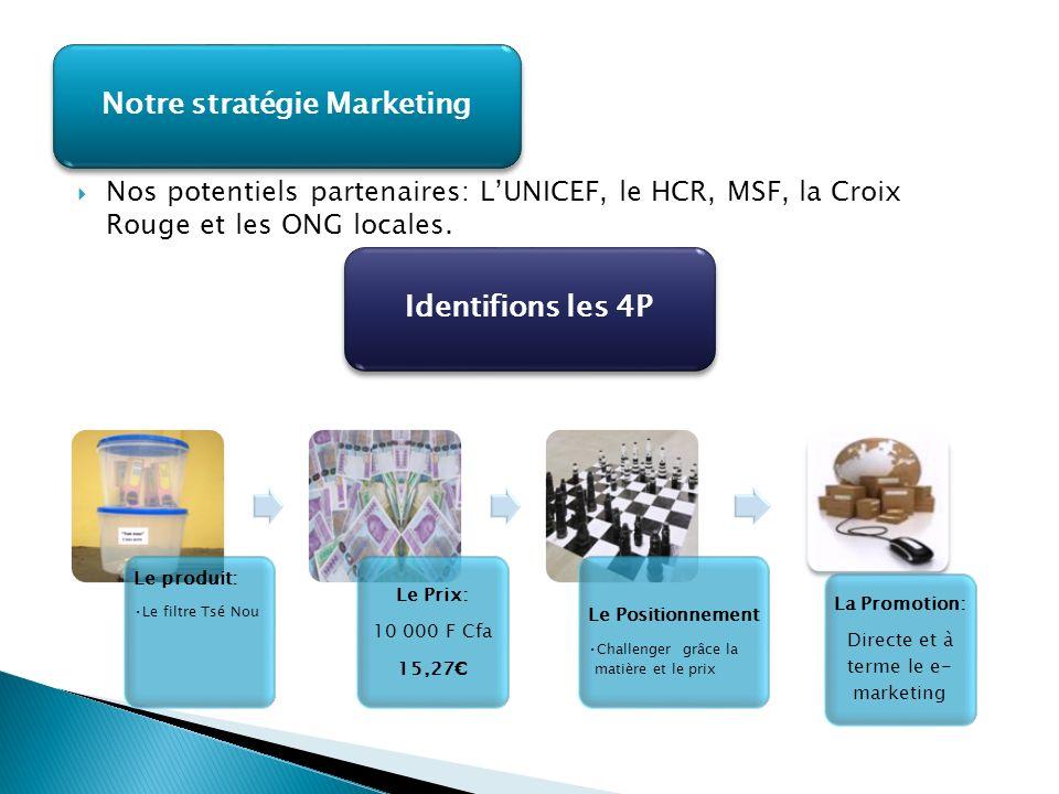 Nos potentiels partenaires: LUNICEF, le HCR, MSF, la Croix Rouge et les ONG locales. Notre stratégie Marketing Identifions les 4P Le produit: Le filtr
