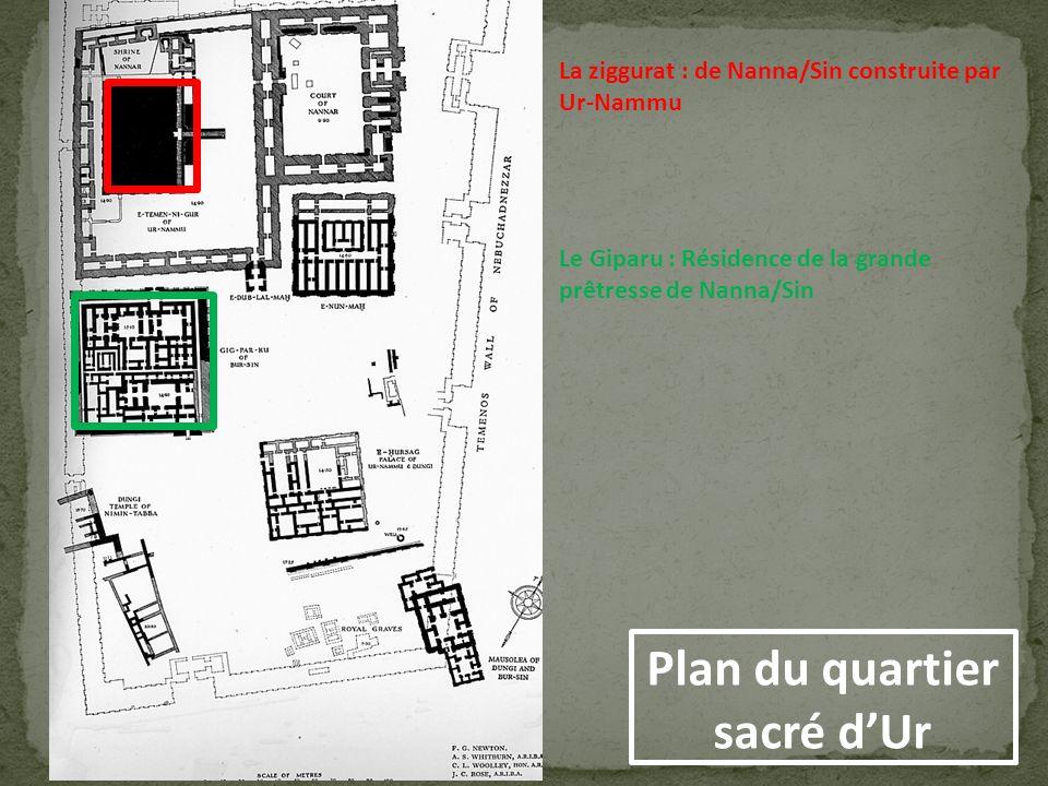 La ziggurat : de Nanna/Sin construite par Ur-Nammu Le Giparu : Résidence de la grande prêtresse de Nanna/Sin Plan du quartier sacré dUr