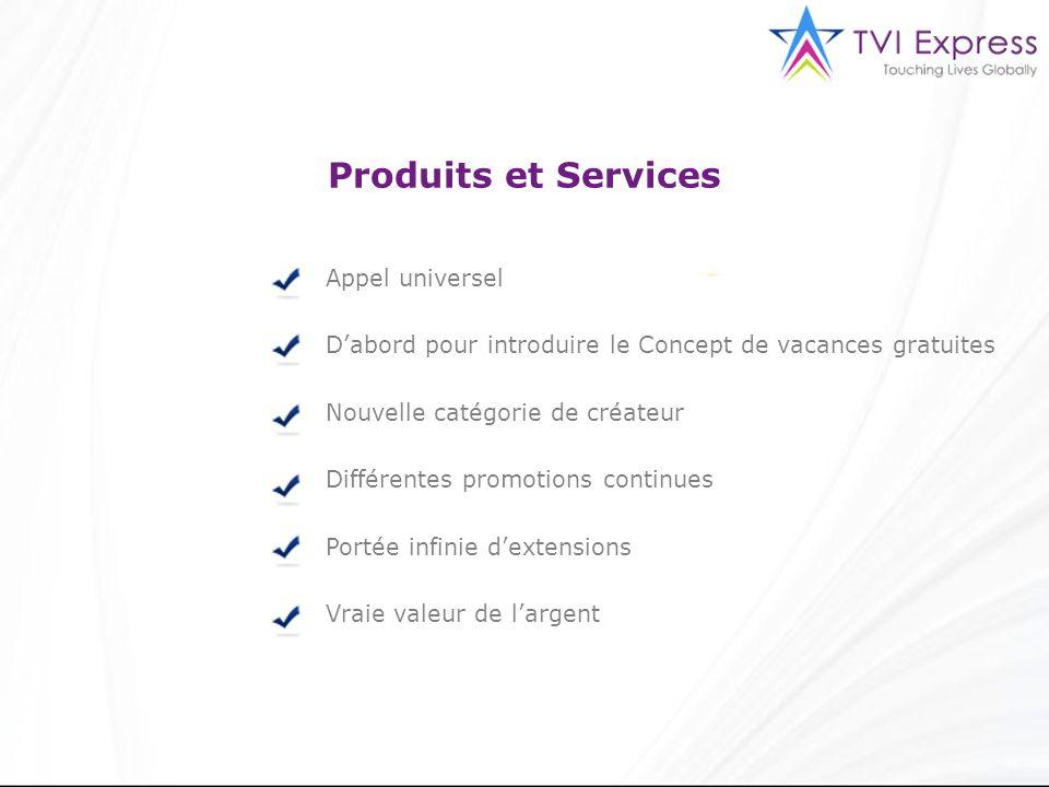 Produits et Services Appel universel Dabord pour introduire le Concept de vacances gratuites Nouvelle catégorie de créateur Différentes promotions con