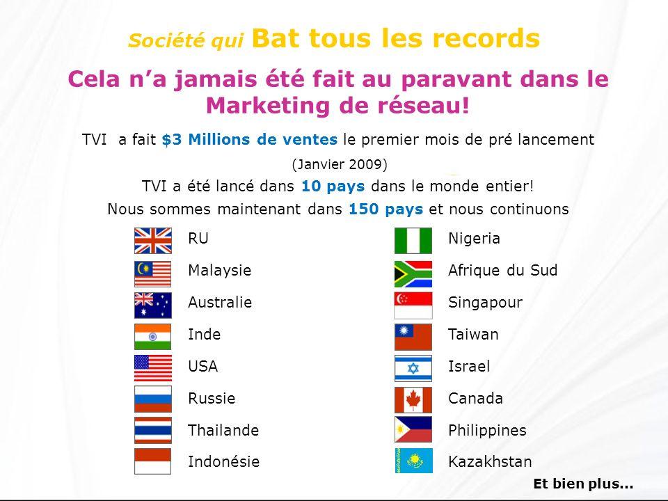 Société qui Bat tous les records Cela na jamais été fait au paravant dans le Marketing de réseau! TVI a fait $3 Millions de ventes le premier mois de