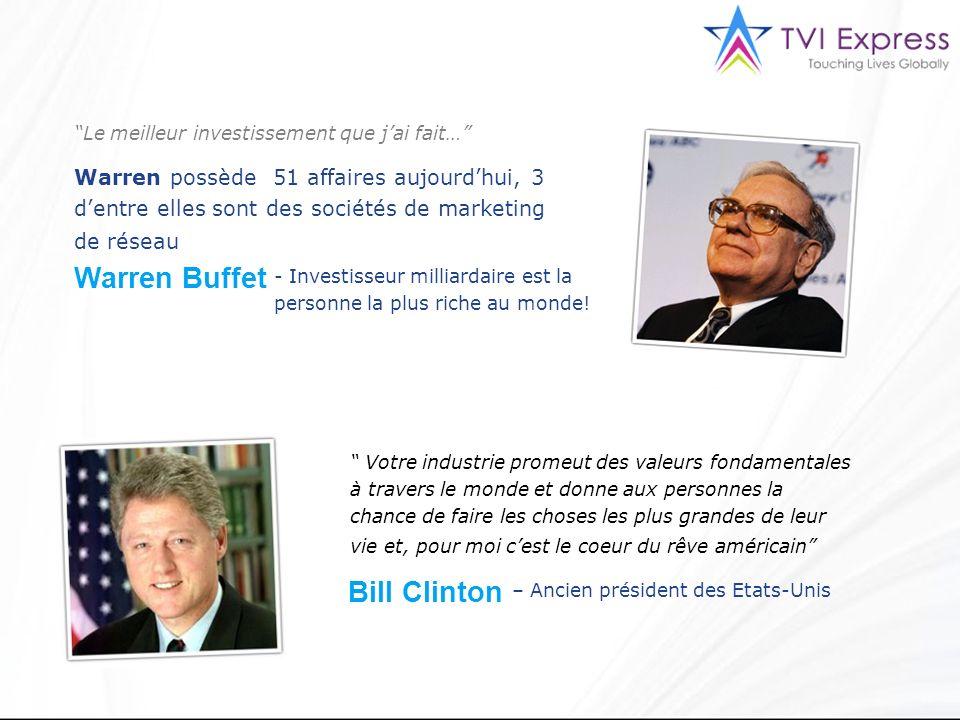 Le meilleur investissement que jai fait… Warren possède 51 affaires aujourdhui, 3 dentre elles sont des sociétés de marketing de réseau Warren Buffet