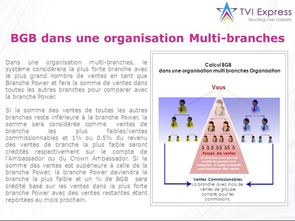 3 BGB dans une organisation Multi-branches Dans une organisation multi-branches, le système considèrera la plus forte branche avec le plus grand nombr