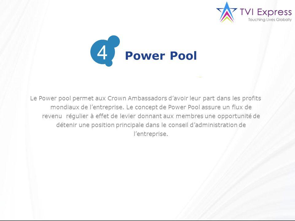 Le Power pool permet aux Crown Ambassadors davoir leur part dans les profits mondiaux de lentreprise. Le concept de Power Pool assure un flux de reven