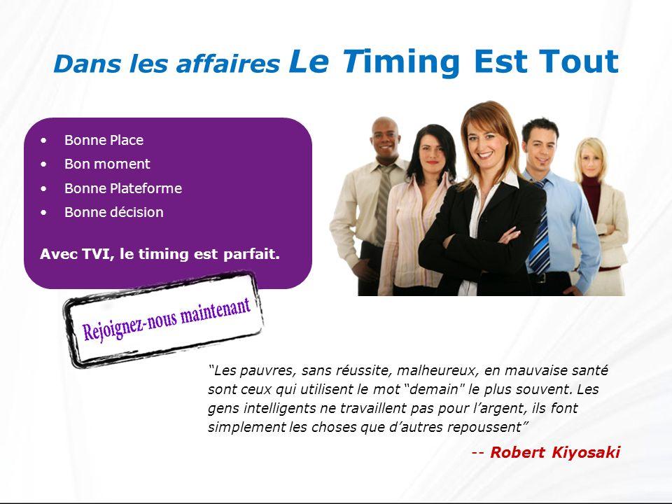 Dans les affaires Le Timing Est Tout Bonne Place Bon moment Bonne Plateforme Bonne décision Avec TVI, le timing est parfait. Les pauvres, sans réussit