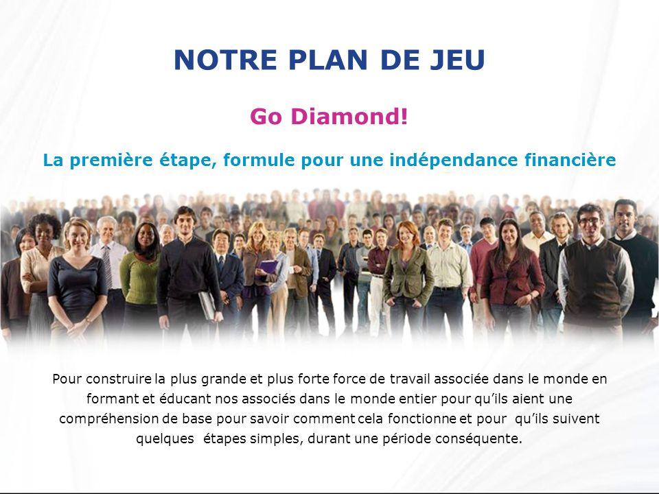 NOTRE PLAN DE JEU Go Diamond! La première étape, formule pour une indépendance financière Pour construire la plus grande et plus forte force de travai