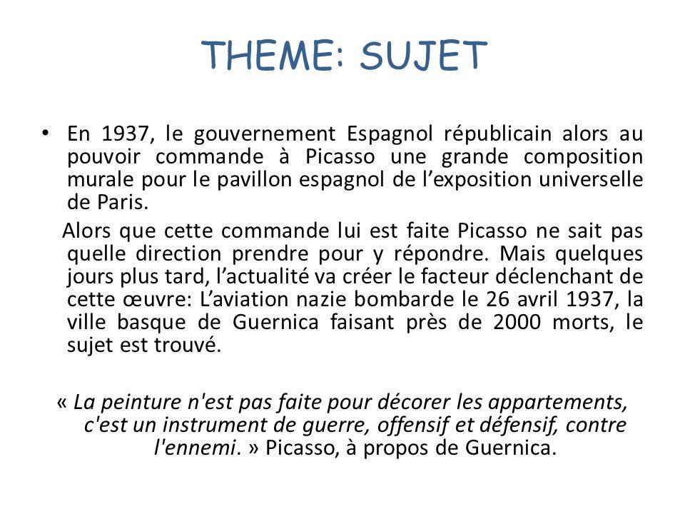 THEME: SUJET En 1937, le gouvernement Espagnol républicain alors au pouvoir commande à Picasso une grande composition murale pour le pavillon espagnol