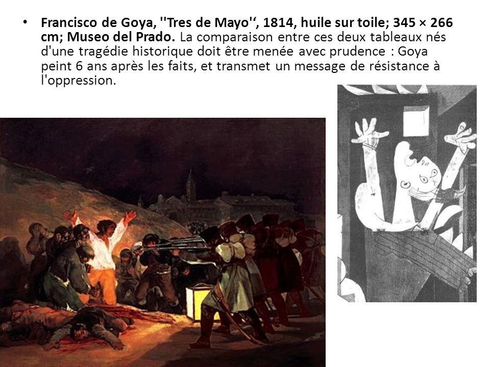 Francisco de Goya, ''Tres de Mayo', 1814, huile sur toile; 345 × 266 cm; Museo del Prado. La comparaison entre ces deux tableaux nés d'une tragédie hi