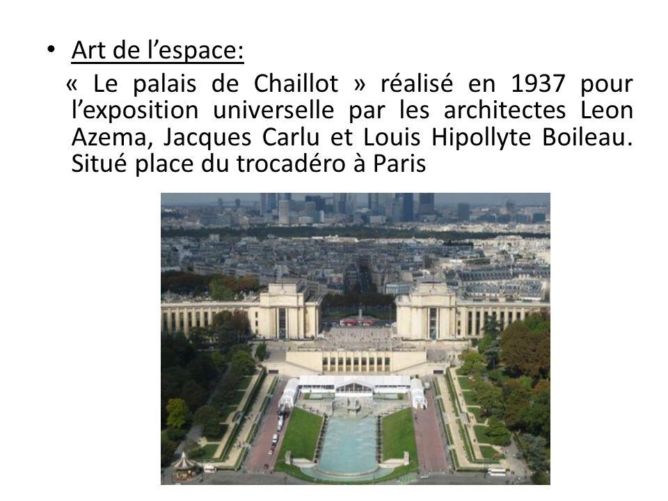 Art de lespace: « Le palais de Chaillot » réalisé en 1937 pour lexposition universelle par les architectes Leon Azema, Jacques Carlu et Louis Hipollyt