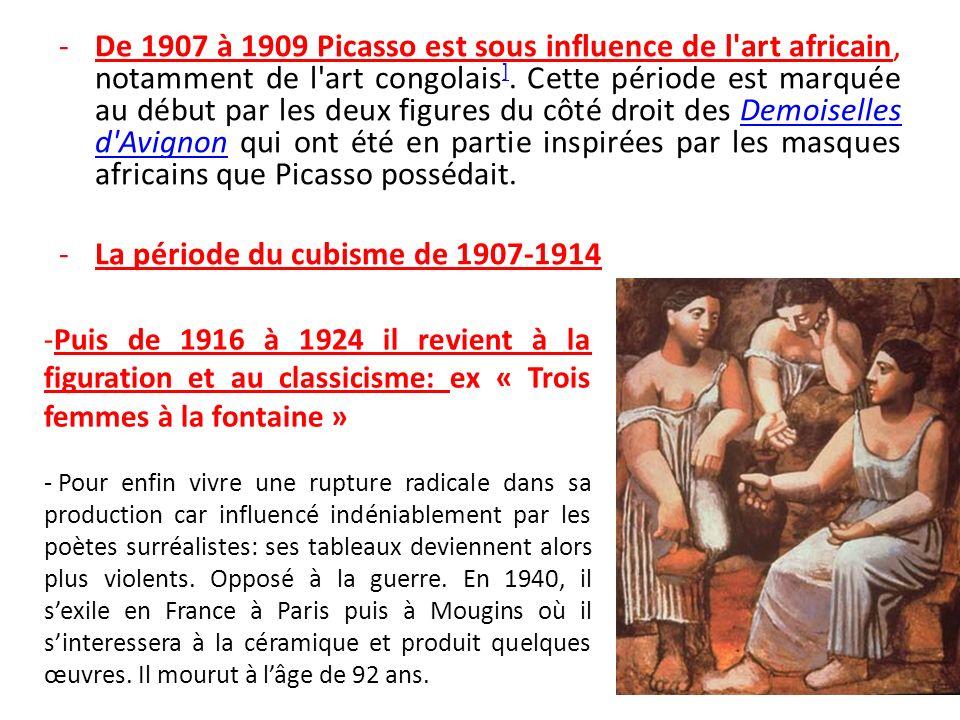 CUBISME De 1907 à 1914, il réalise avec Georges Braque des peintures qui seront appelées « cubistes ».19071914Georges Braque Elles sont caractérisées par une recherche sur la géométrie et les formes représentées : tous les objets se retrouvent divisés et réduits en formes géométriques simples, souvent des carrés.