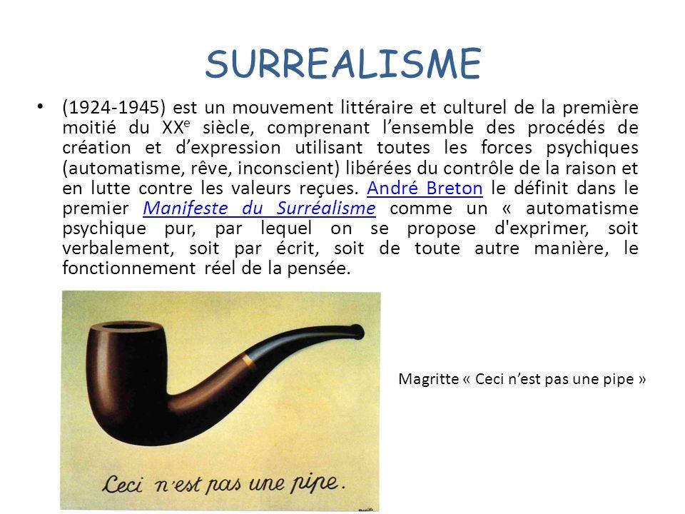 SURREALISME (1924-1945) est un mouvement littéraire et culturel de la première moitié du XX e siècle, comprenant lensemble des procédés de création et