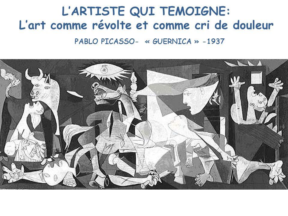 TITRE: Guernica DATE: 1937 TECHNIQUE: Huile sur toile DIMENSIONS: H:3,71m L:7,82 LIEU DEXPOSITION: Musée Reina Sofia Madrid MOUVEMENT ARTISTIQUE: Cubisme / Surréalisme GENRE: Peinture dHistoire PERIODE HISTORIQUE (Contexte): XXème s.